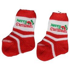 Vintage Doll Merry Christmas Socks fits Dydee Tiny Tears!