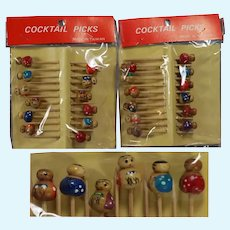 24 Vintage Kokeshi Dolls Cocktail Picks MIP! Perfect for Doll Parties!