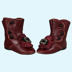 Gorgeous Red Boots Shoes for Jumeau Steiner Bebe Doll!