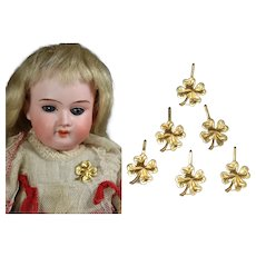 Antique Brass Clover Button Pins for your Doll!