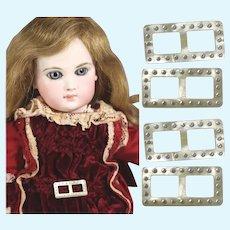 4 Vintage Mini Rhinestone Doll Buckles!