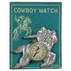 Vintage Toy Western Cowboy Watch Pin Brooch on Orig Card!