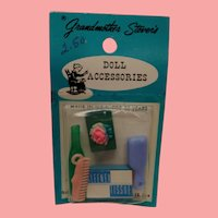Vintage Dollhouse Doll Grandmother Stover's Vanity Beauty Items!
