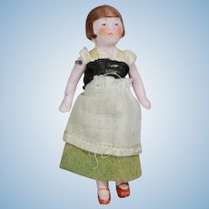 Antique German Hertwig All-Bisque Dollhouse Doll Flapper Girl!