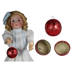 Doll Size Vintage Foil Christmas Candy Container Ball Ornament!