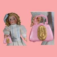 Darling Vintage Pink Hard Plastic Doll Purse!