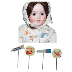 Darling Vintage Dutch Toothpaste Advertising Pins/Signs for Doll or Roombox!