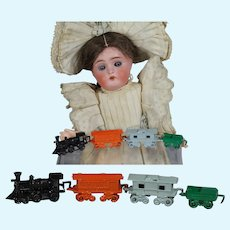 Vintage JAPAN Doll Size Mini Metal Train Set!
