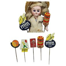 Darling Vintage Dutch Candy Advertising Pins/Signs for Doll Roombox!