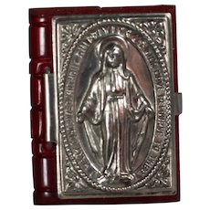 1940s US Zone Germany Mini Doll Sized Bible Rosary Box Repousse Virgin Mary - Red!