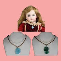 2 Antique Bisque Doll Glass Cameo Necklaces!