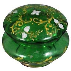 Lovely Antique Bohemian Glass Emerald Green Trinket Casket Dresser Box!
