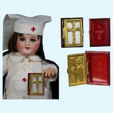 1940s US Zone Germany Mini Doll Sized Bible Rosary Box - Red!