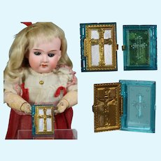 1940s US Zone Germany Mini Doll Sized Bible Rosary Box - Blue!