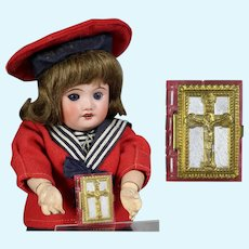 1940s US Zone Germany Mini Doll Sized Bible Rosary Box - Pink