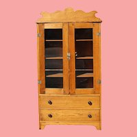 Antique Salesman Sample Doll Oak Pie Safe Cabinet!