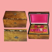 Beautiful Antique Wooden Sewing Box w Key & Mother of Pearl Contents!