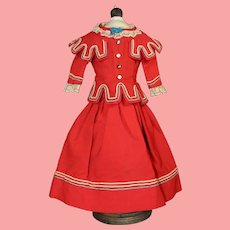 """Fabulous! Antique 2 Piece French Fashion Doll Outfit 19-20"""""""