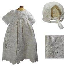 """Antique Cut Lace Dress w Matching Bonnet Slanted Shoulders for 19-20"""" Doll!"""