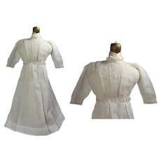 """Beautiful! Antique Edwardian Lady Doll Cotton Dress for 24"""" Bisque!"""