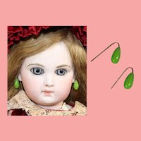 Antique Glass Green Earrings for French Fashion Doll!
