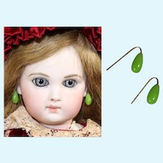 Antique Glass Pink Floral Earrings for French Fashion Doll!