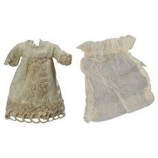 Lovely Small All Bisque Doll Antique Bridal Gown Wedding Dress!