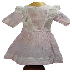 """Lovely Antique Pink Cotton Dress for 16"""" Bisque Doll!"""