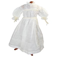 """Lovely Antique White Cotton Dress for 20"""" Bisque Doll!"""