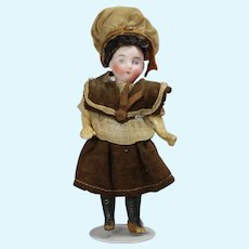 "Antique 5"" French Bisque Doll w Orig Factory Clothes!"