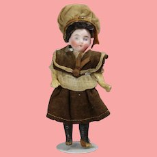 """Antique 5"""" French Bisque Doll w Orig Factory Clothes!"""