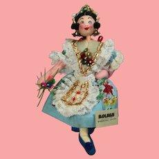Vintage Spanish Cloth Doll Roldan Klumpe Girl w Tag & Beautiful Hair!