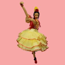 Vintage Spanish Cloth Doll Klumpe Roldan Type w Gorgeous Organdy Dress!