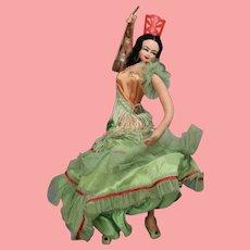 Vintage Spanish Cloth Doll Reyes Klumpe Roldan Dancer w Guitar - Orig Tag!