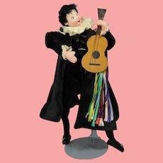 Vintage Spanish Cloth Doll Troubadour w Guitar Klumpe Roldan!