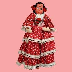Vintage 1950s Spanish Cloth Mexican Klumpe Roldan Type Doll!