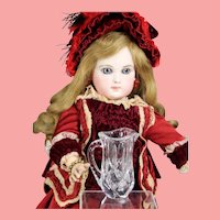 Lovely Doll Cut Glass Crystal Mini Pitcher!