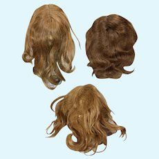 3 Antique Human Hair Bisque Doll Wigs for Larger Dolls