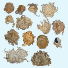 14 Antique Blonde Human Hair Bisque Doll Wigs for Repair!