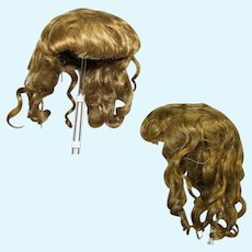 """Lovely Antique Human Hair Bisque Doll Wig 13"""" Head Circumference"""