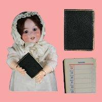 Vintage German Leather Doll Size Calendar Book!