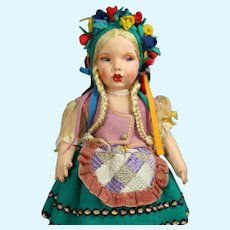 Exquisite! Vintage Spanish Munecas Pages Cloth Doll Lenci Type!