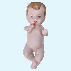 Antique German All-Bisque Baby Doll Drinking Bottle!