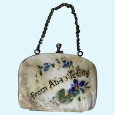 Antique Mother of Pearl Shell Accordion Doll Purse! Atlantic City!