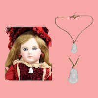 Antique White Glass Doll Necklace! Virgin Mary