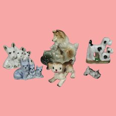 Vintage Lot of Japan Bisque Dog Figurines! Terriers Collies Bulldogs!
