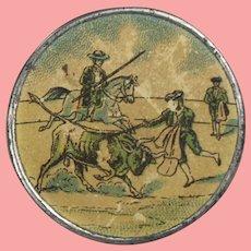 Antique Pocket Mirror Spain Matador Bullfight Souvenir!