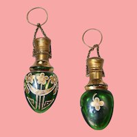 Lovely! Antique Green Painted Glass Chatelaine Perfume Scent Bottle!