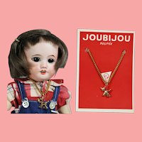 Vintage French Doll Necklace on Orig Card! Fits Bleuette! LAST ONE!