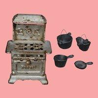 Antique Cast Iron Doll Size Arcade Royal Stove w Pots Pans!